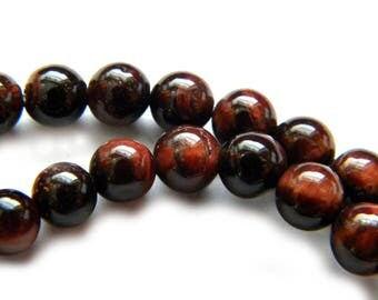 20 Round Red Tigers Eye Beads 6mm