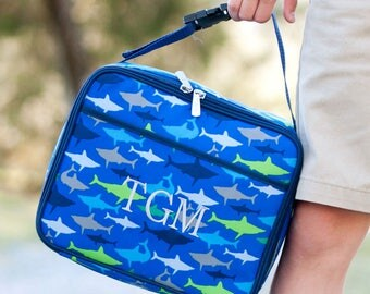 Monogrammed Lunchbag-Personalized Lunchbox-Shark Lunchbag-Shark Lunchbox-Boys Lunchbag-Boys Lunchbox-Preppy Shark Lunchbag-Preppy Sharks