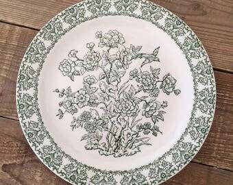 "Vintage Royal China Green Transferware 12"" Chop Plate/Round Platter"
