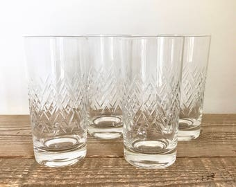 Set of 4 Cut Glass Tumblers Highball Drinking Glasses