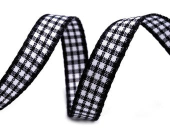 3 m cotton gingham Black 10 mm Ribbon