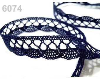 6074 - 18 mm blue cotton lace trim Ribbon