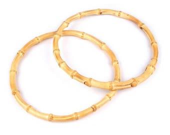 2 round 16 cm bamboo bag handles