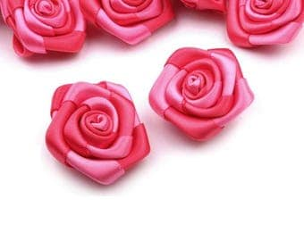 5 small 30 mm fuchsia pink satin roses