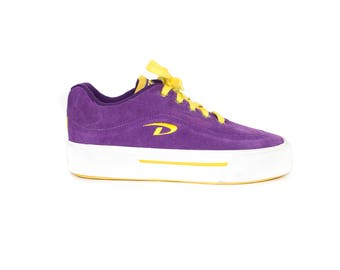 DKNY suede platform shoes - purple + yellow - vans style sneakers - vintage - size 9