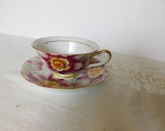 Shafford hand painted pink flower cup and saucer VGU