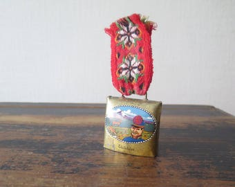 Swedish BELL Vintage Metal Brass Bell with red Ribbon Rustic Farmhouse Bell Handmade Cow Souvenir Bell @221