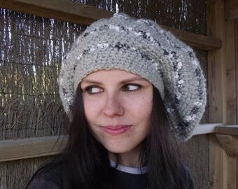 SALE Hand crocheted hat Chunky hat Beanie hat Crochet hat Gray hat Hat Oversized hat Slouchy hat