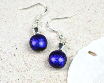 Dichroic Glass Earrings in Royal Blue with a Satin finish
