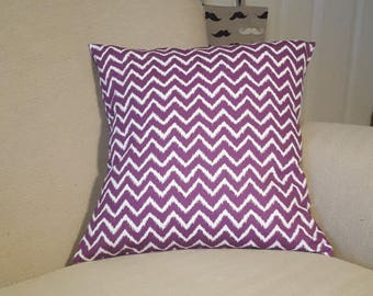 Zig Zag Cushion. Purple and White Cushion. Cushion Cover. Envelope Cushion Cover. Made in the UK. Removable Cushion Cover. Quirky Cover.