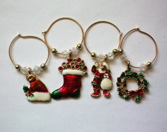 Christmas Holiday Wine Charms - 5696