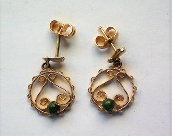 Petite 14K Gold Filigree Jade Dangle Earrings - 5854