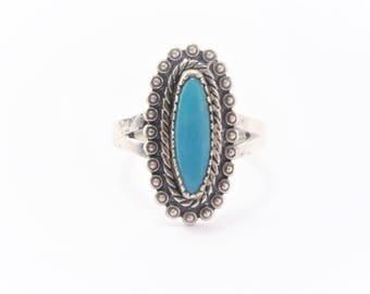 Vintage Southwestern Sterling Turquoise Ring Size 6.75