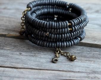 Ukrainian folk bracelet - Ethnic black bracelet - Ethnic multistrand beaded bracelet - folk bracelet for her