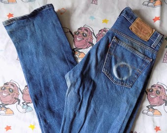 Vintage 80's Levi's 501XX button fly Jeans, 29x34 worn in USA made Red Tab
