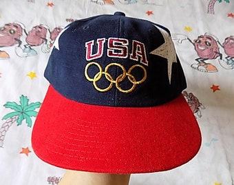 Vintage 90's Champion USA 1996 Atlanta Olympics Snapback Hat, Adult Size dead stock NOS