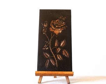 Flower Copper Art, Engraved Copper Wall Hanging, Flower Copper Picture, Copper Hanging, Copper Wall Plaque, Embossed Copper, Copper Repousse