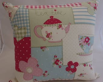 Pillow - Tea Time design feature cushion, complete with cushion pad, zip fastening