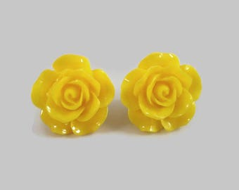 Yellow Rose Stud Earrings Flower Posts Christmas In July Sale