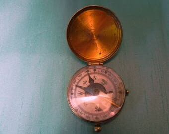 vintage brass compass with hinge top