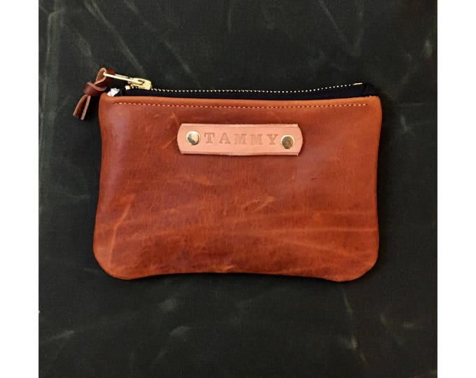 Custom Gift - Cognac Leather zipper wallet