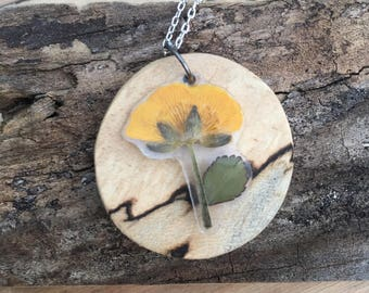 Buttercup and Wood - Pressed Flower Necklace
