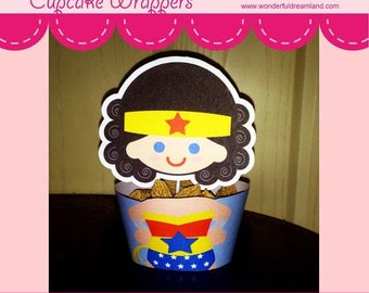 50% OFF Printable Digital PDF File - Cupcake Wrappers Superhero Hero Baby Wonder Girl