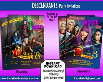 INSTANT DOWNLOAD Descendants Party Invitations - 5x7 or 4x6 DIY Personalizing and Printable Digital Files