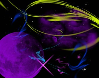 "Limited Edition Print.  "" Space in my mind 5 "" Digital painting, Wall art, Painting. Art print"