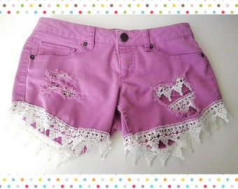 Pink Distressed Shorts with Crochet Lace Trim size 9