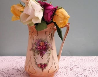 Vintage Jug - Yellow and Pink Jug - Art Nouveau Jug - Edwardian Jug - Victorian Jug - Pitcher - Roses - Flowers - Gift for Her - c.1910