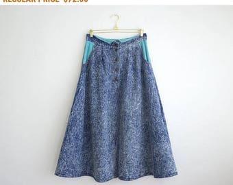 Button Front Denim Skirt, Vintage Denim High Waist Skirt, 80s Acid Wash Midi Skirt Medium Large