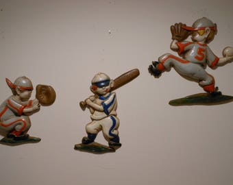 Set of Three Sexton Cast Iron Baseball Figures (1970)