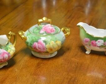 3 Piece Vintage T&V Limoges France Sugar bowl and Creamer Set