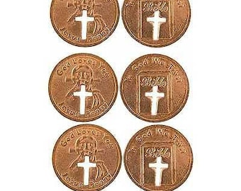 50 Jesus Penny with Cut-out Cross - Copper Coin Pack of 50