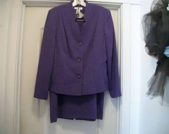 Retro 90s Does the Past STEAMPUNK Look PRETTY in PURPLE Paisleys Ladies Suit, Jacket Plus Skirt, Embossed, 12