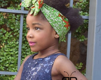 Green African Fabric Headwrap, African Print Hair Accessories, Ankara Fabric, African Fashion, Gift for women, Turbans