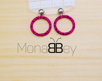 Pink african textile earrings, african fabric hoop earrings, handmade earrings, boucles d'oreilles ethniques, tissu wax, bijoux africains