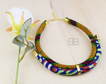 Bijoux wax, collier africain, african necklace for women, ankara necklace, gift for her, birthday gift, african jewelry, ankara fashion
