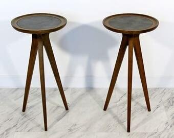 Mid Century Modern Pair John Van Koert Drexel Tripod Walnut Side End Tables 1950