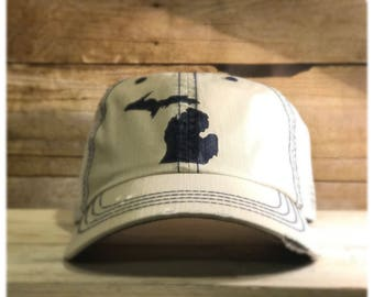 White and blue Michigan hat
