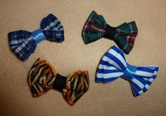 Puppy Bows ~  4 bows for boys blue green brown  pet hair bow latex bands or barrette   (fb79)