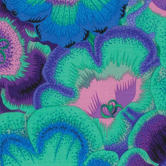 GLOXINIAS BLUE PJ071  Philip Jacobs Kaffe Fassett Sold in 1/2 yd increments