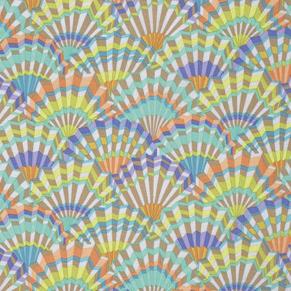 PAPER FANS VINTAGE Pastel Kaffe Fassett Collective Sold in 1/2 yd increments