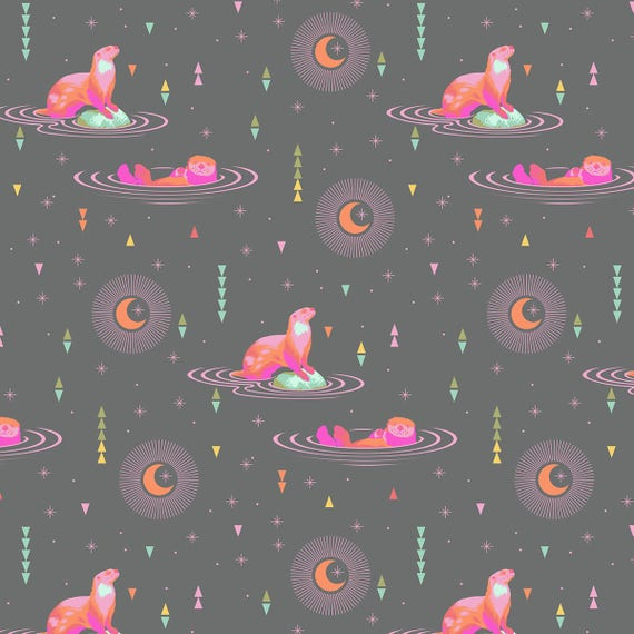 "FQ OTTER CHILL Star Light Spirit Animal PWTP102.Starl Tula Pink  Fat Quarter 18""x22"""