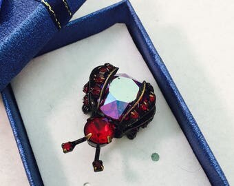Vintage Signed Weiss Red Faux Gemstone Bug Brooch