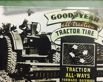 Vintage 1920's Silent Movie Theater Glass Advertising Slide - Goodyear Tractor Tires