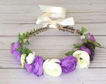 Purple Ivory Flower Crown, Purple Flower Girl Flower Crown, Maternity Photo, Child Bridal Crown, Boho Flower Crown, Purple Bridal Shower