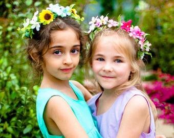 Sunflower Flower Crown, Blue Yellow Flower Crown, Garden Wedding Flower Girl, Outdoor Photo Shoot Flower Crown, Boho Sunflower Flower Girl