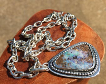 Gem Australian Boulder Opal Necklace with Handmade Soldered Oval Link Chain